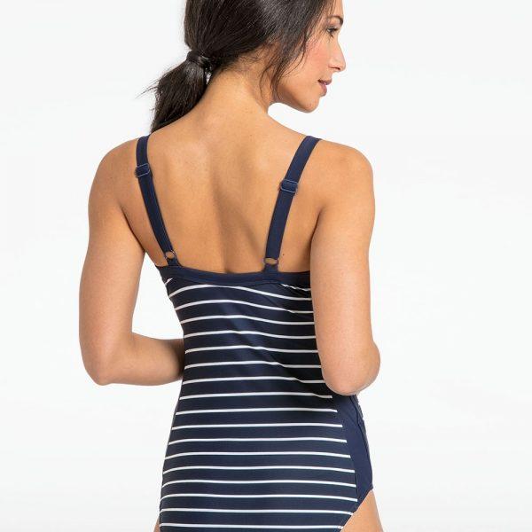 630958a109 Navy   White Stripe Postnatal Support Swimsuit - Bump   me