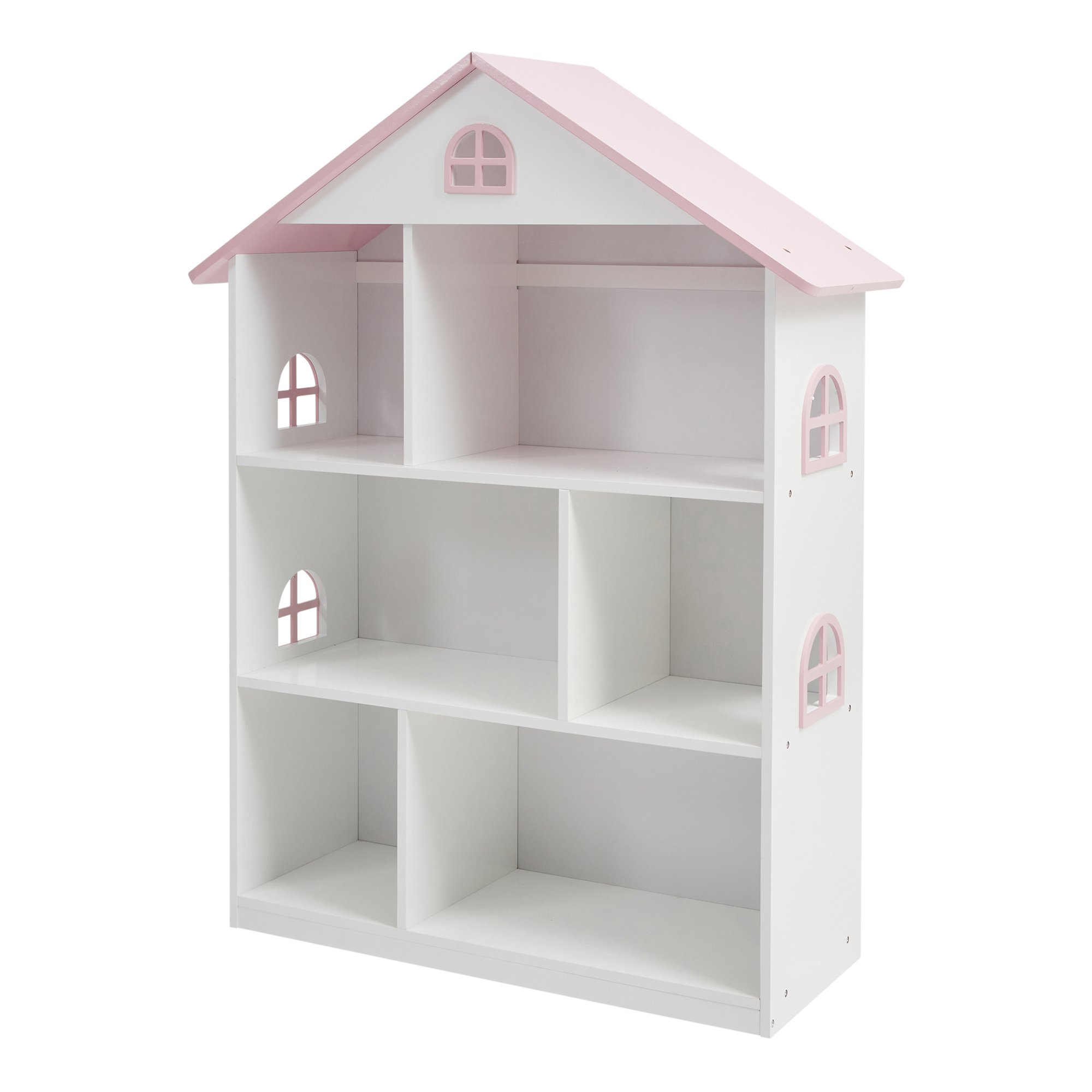White Wooden Dollhouse Bookcase With Pink Roof