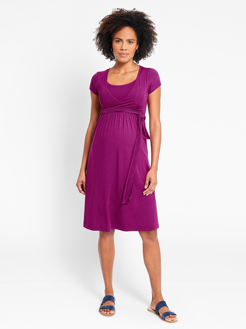 5f92312c836dc JoJo Maternity & Nursing Tie Dress, Cassis - Bump & me